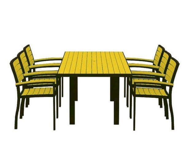 "Euro Recycled Plastic Dining Chair And 72"" X 36"" Rectangle Dining Table Set With Aluminum Frame From Polywood"