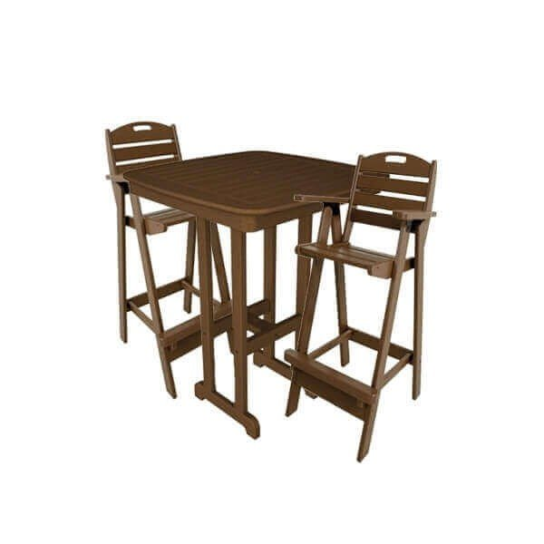 """Nautical Recycled Plastic Bar Chair With 37"""" Square Bar Table Set From Polywood"""