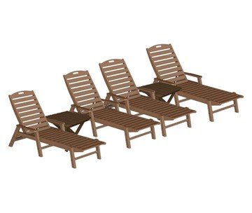 Nautical Recycled Plastic Chaise Lounge With Square Folding Side Table Set From Polywood