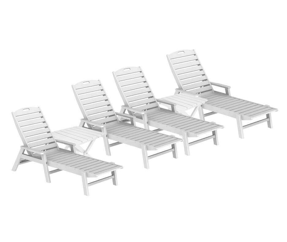 Nautical Recycled Plastic Chaise Lounge With Square