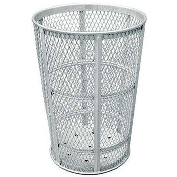 45 Gallon Galvanized Steel Mesh Style Thermoplastic Coated Trash Receptacle