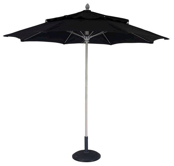 Commercial Grade Market Style Umbrella, Lucaya Style, Fiberglass 9 foot Diameter with Heavy Duty One Piece Pole Aluminum Push Up Lift With Wind Vent, Sunbrella Fabric