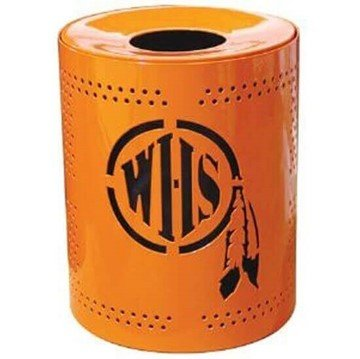 Picture of Personalized 32 Gallon Perforated Style Thermoplastic Receptacle w/ Liner & Flat Top Lid