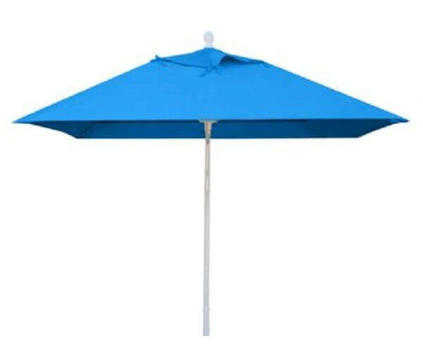 Commercial Umbrellas Market Style Umbrella, 6 Foot Square with Heavy Duty Aluminum 2 Piece Pole and Pulley Lift, Sunbrella