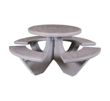 "38"" Round Commercial Concrete Picnic Table - 1100 lbs."