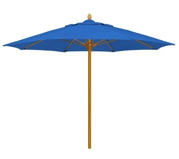 Bridgewater Style Market Umbrella. 9 Foot Octagon with Heavy Duty One Piece Simulated Wood Pole. Marine Grade Fabric.