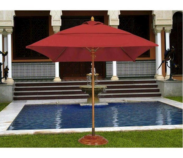 Commercial Umbrellas Six Foot Square Diameter Bridgewater Style Market Umbrella. One Piece Simulated Wood Pole. Marine Grade Fabric.