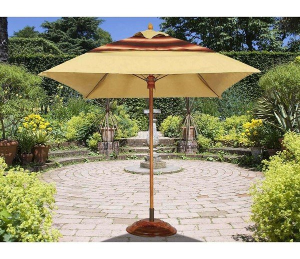 Commercial Umbrellas Augusta Style 6 Foot Square Diameter Market Umbrella. One Piece Simulated Wood Pole. Marine Grade Fabric Top.