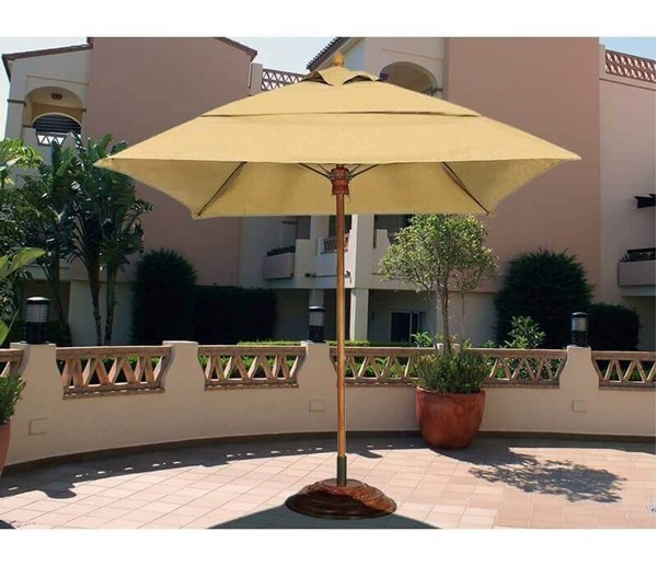 Commercial Umbrellas Augusta Style 7.5 Foot Square Diameter Market Umbrella. One Piece Simulated Wood Pole. Marine Grade Fabric Top.
