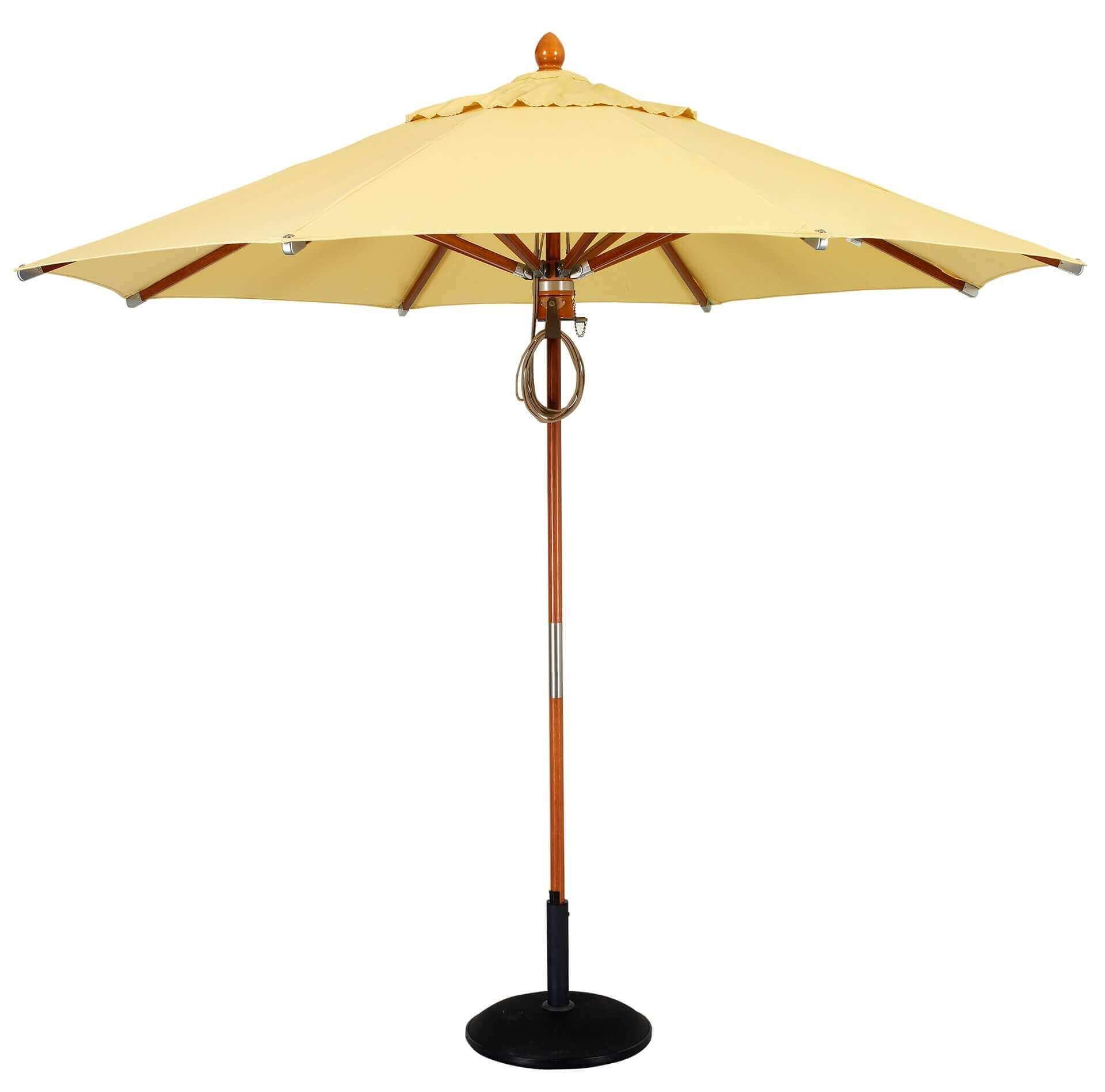 Commercial Market Umbrellas 9 Foot Diameter Wood 8 Rib Umbrella Sunbrella Marine Grade Fabric