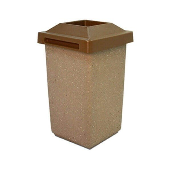30 Gallon Commercial Concrete Square Trash Receptacle With Pitch-In Lid