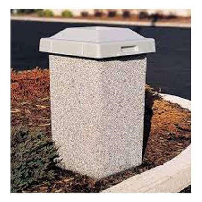 30 Gallon Commercial Concrete Square Trash Receptacle With