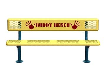 Perforated Style Buddy Bench with Back