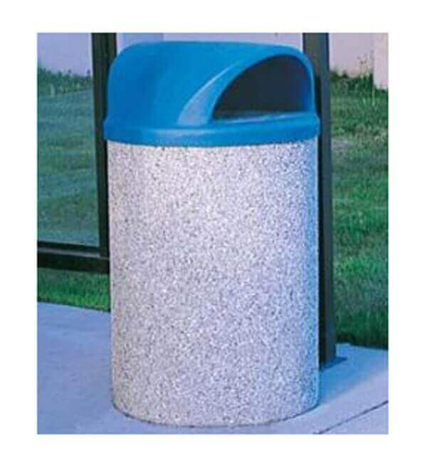 42 gallon commercial concrete round trash receptacle with tw