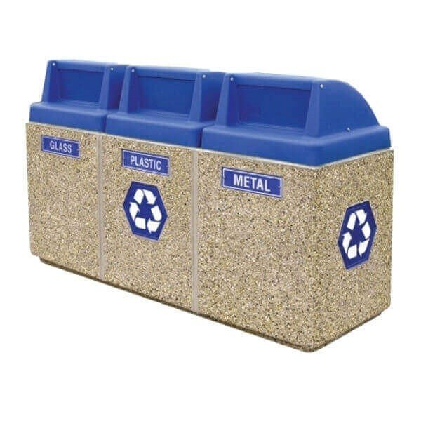 44 Gallon Commercial Concrete Three Bin Recycling Center Trash Receptacles