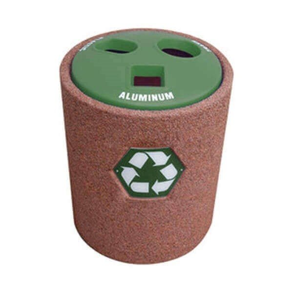 42 Gallon Commercial Concrete Round Recycling Trash Receptacle With Divided Plastic Lid
