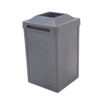 22 Gallon Commercial Plastic Square Tuffy Trash Receptacle With Pitch-In Lid