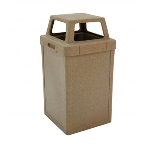 22 Gallon Commercial Plastic Square Tuffy Trash Receptacle with 4-Way Open Top