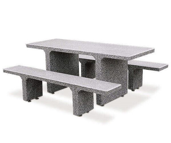 7 Ft. Rectangular Commercial Concrete Picnic Table With Detached Benches