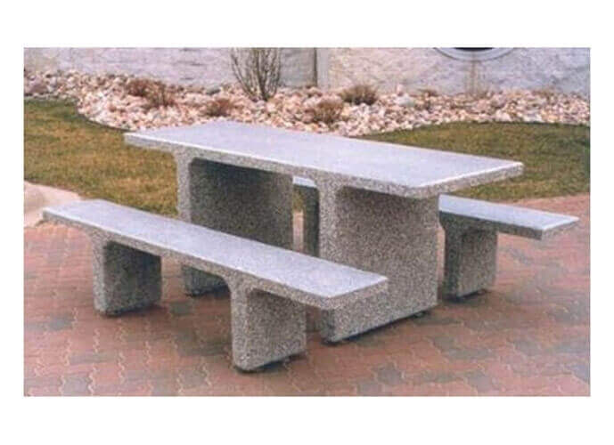 7 Ft Rectangular Commercial Concrete Picnic Table With