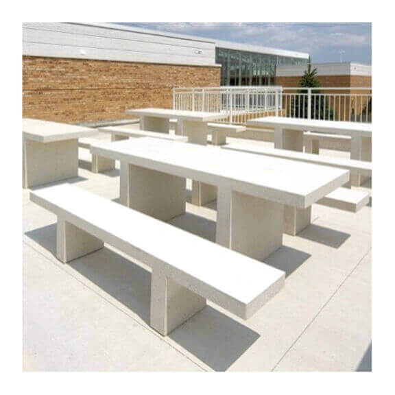 ... 7 Ft. Rectangular Commercial Concrete Picnic Table With Detached Benches