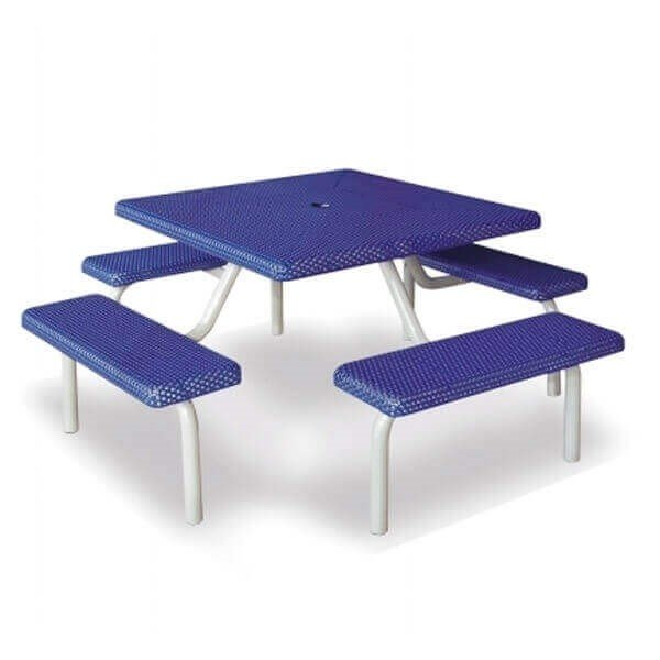 "42"" Commercial Square Thermoplastic Picnic Table With Four Benches And Steel Frame"