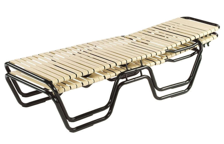 Neptune Vinyl Strap Chaise Lounge With Stackable