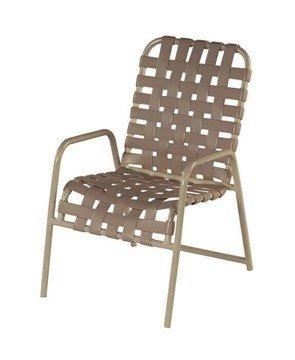 St. Maarten Crossweave Vinyl Strap Dining Chair - Commercial Aluminum Frame