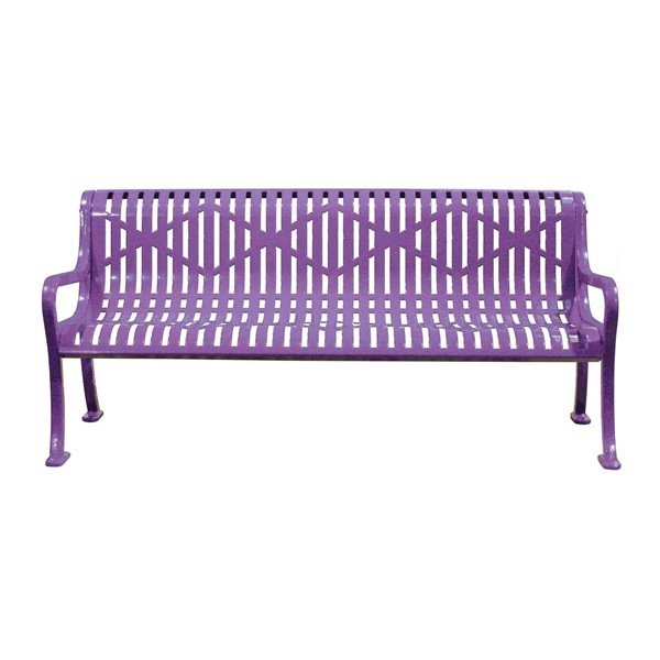 Rolled Diamond Style Thermoplastic Controured Steel Bench with Arms