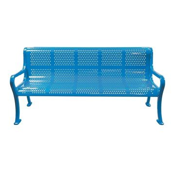 Rolled Peforated Style Thermoplastic Contoured Steel Bench with Arms