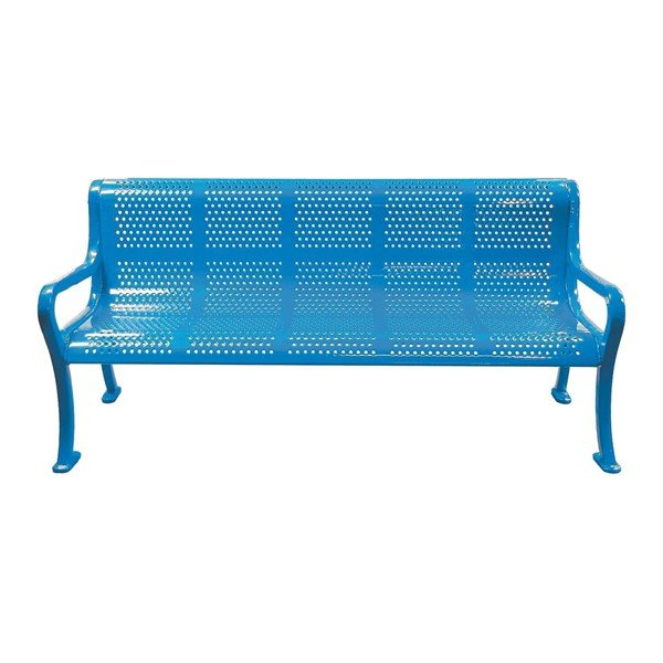 Picture of Rolled Peforated Style Thermoplastic Contoured Steel Bench with Arms - 6 ft. or 8 ft.
