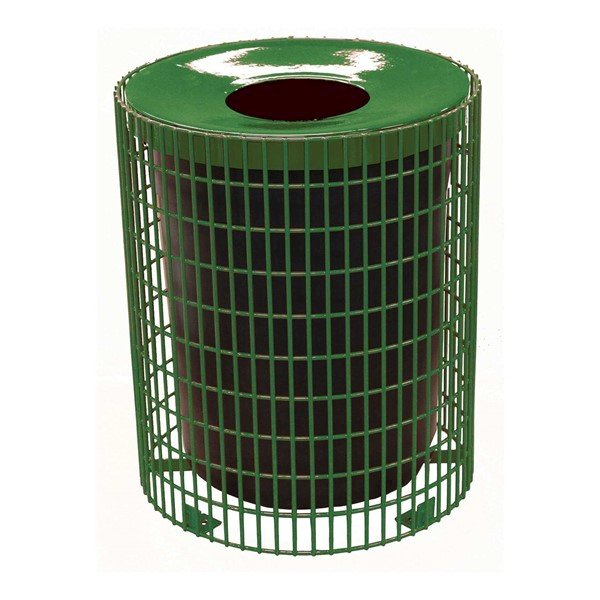 Picture of 32 Gallon Welded Wire Style Thermoplastic Coated Trash Receptacle w/ Liner & Flat Top Lid