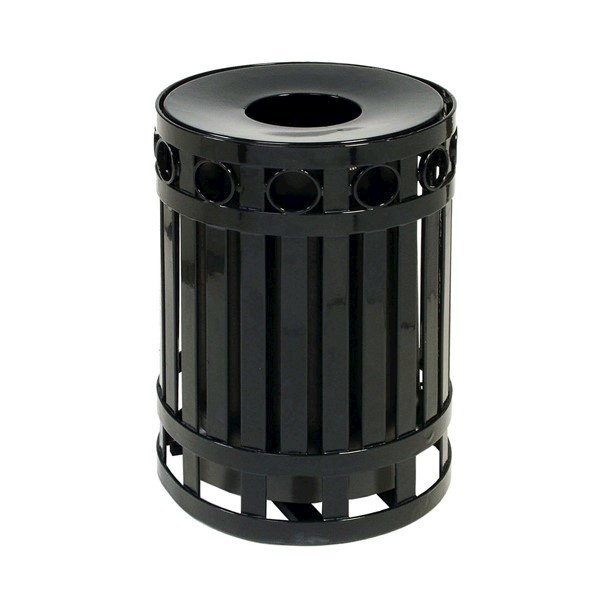 Picture of 32 Gallon Ring Style Thermoplastic Receptacle w/ Liner & Spun Steel Lid