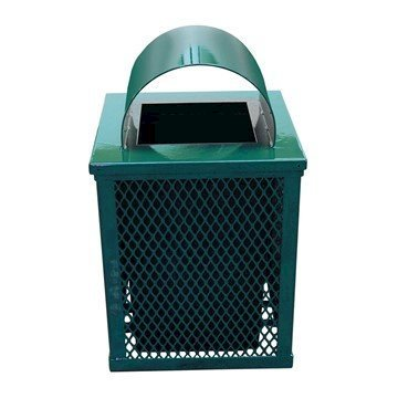 32 Gallon Square Expanded Metal Thermoplastic Coated Trash Receptacle