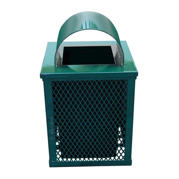 Picture of 32 Gallon Square Expanded Metal Thermoplastic Coated Trash Receptacle