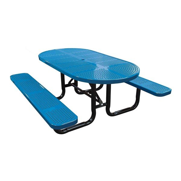 6 Ft. Oval Perforated Style Thermoplastic Picnic Table