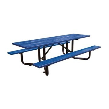 8 ft. ADA Rectangular Y-Base Perforated Steel Plank Picnic Table