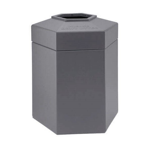 45 Gallon Poly Tec Commercial Plastic Hexagonal Trash Receptacle