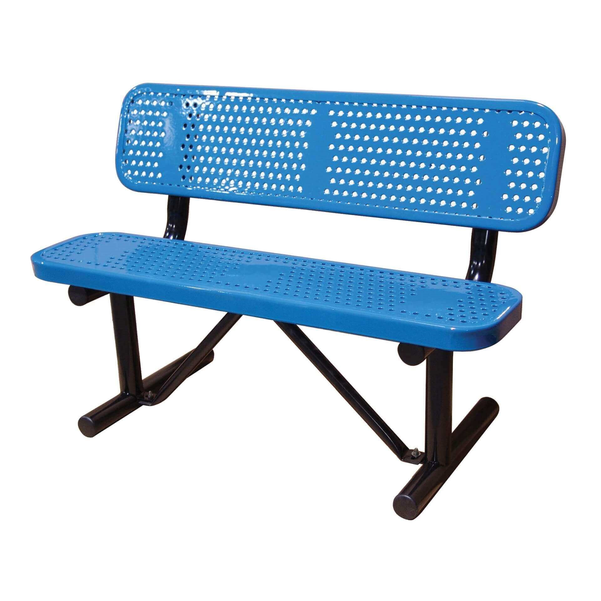 Perforated Style Thermoplastic Bench With Back Furniture