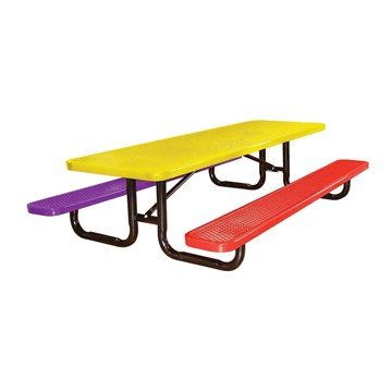 Picture of 8 Ft. Rectangular Expanded Metal Style Thermoplastic Children's Picnic Table