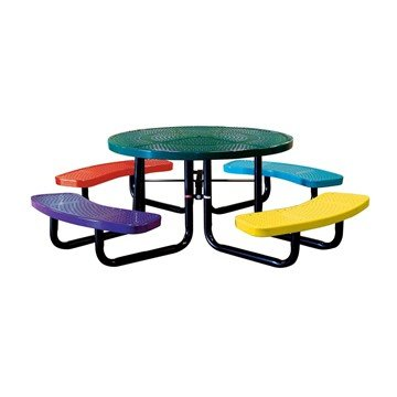 "Picture of 46"" Round Perforated Style Thermoplastic Children's Picnic Table"
