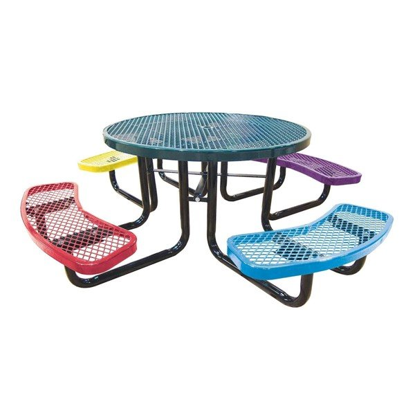 "Picture of 46"" Round Expanded Style Thermoplastic Children's Picnic Table"