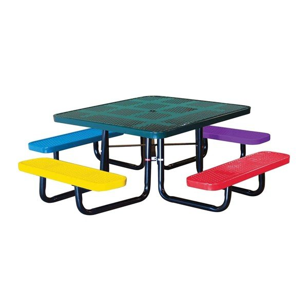 "46"" Square Perforated Style Thermoplastic Children's Picnic Table"