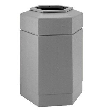 30 Gallon Poly Tec Commercial Plastic Hexagonal Trash Receptacle