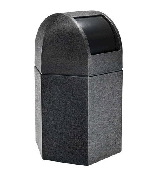 45 Gallon Poly Tec Commercial Plastic Hexagonal Trash Receptacle With Dome Lid