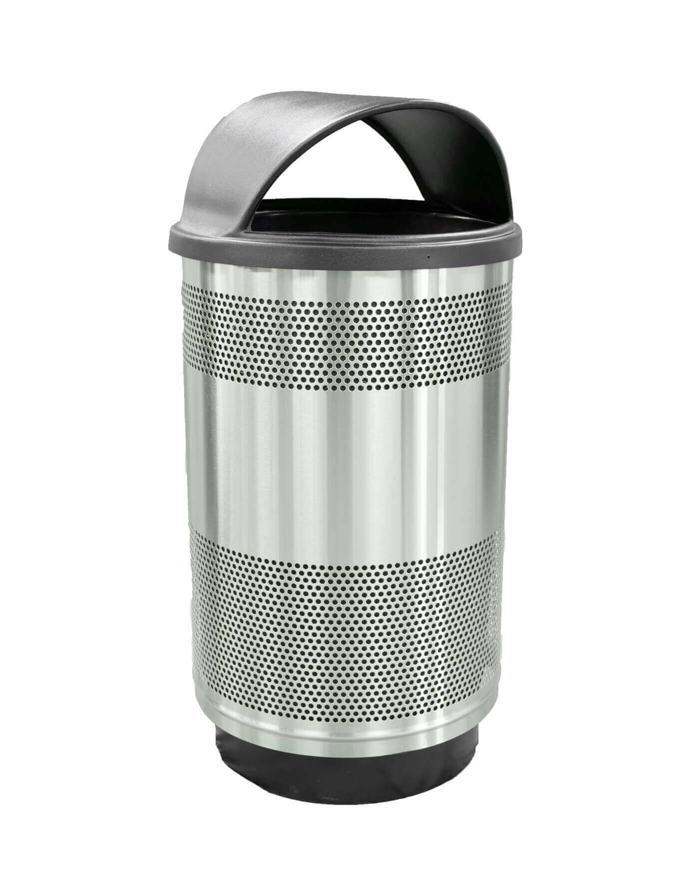 55 Gallon Round Stadium Steel Trash Receptacle With Liner