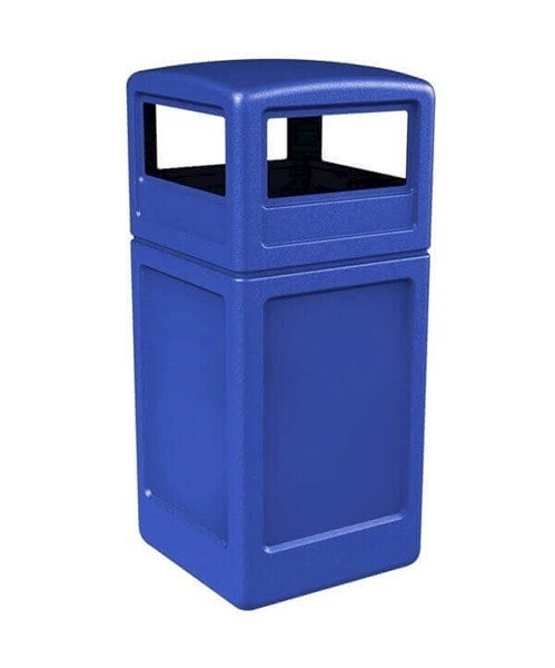 42 Gallon Poly Tec Commercial Square Plastic Trash Receptacle With Dome Lid
