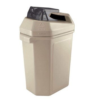 30 Gallon Green Zone Commercial Canpactor Plastic Trash Receptacle With Can Crusher Top