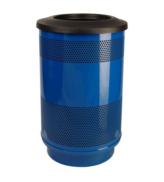 55 Gallon Round Stadium Steel Trash Receptacle with liner, 86 lbs.
