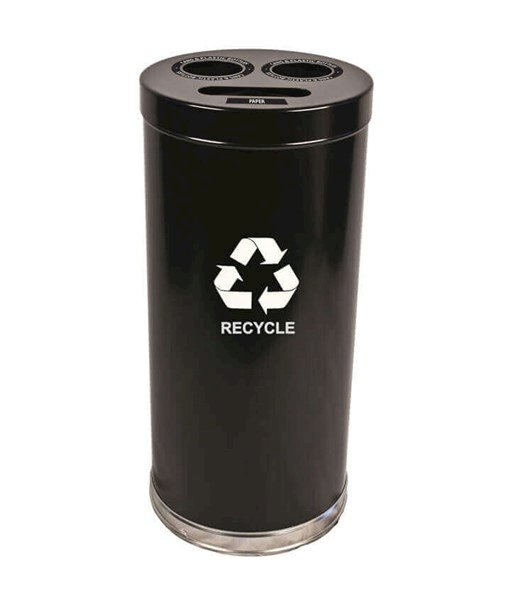 Powder Coated Round Steel Recycling Receptacle with Three Liners - 24 or 34.5 Gallons, 40-48 lbs.